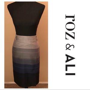 Roze & Ali Skirt Ombré Blue/Gray Pencil Skirt